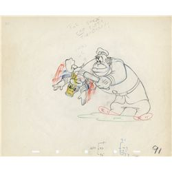 Original production drawing of Donald Duck and policeman from The Autograph Hound
