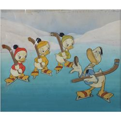Cel of Donald Duck with Huey, Dewey & Louie from The Hockey Champ with hand-painted Courvoisier bkg