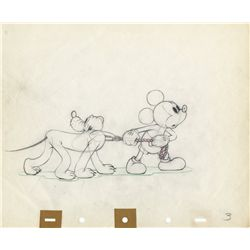 Original production drawing of Mickey Mouse and Pluto from Society Dog Show