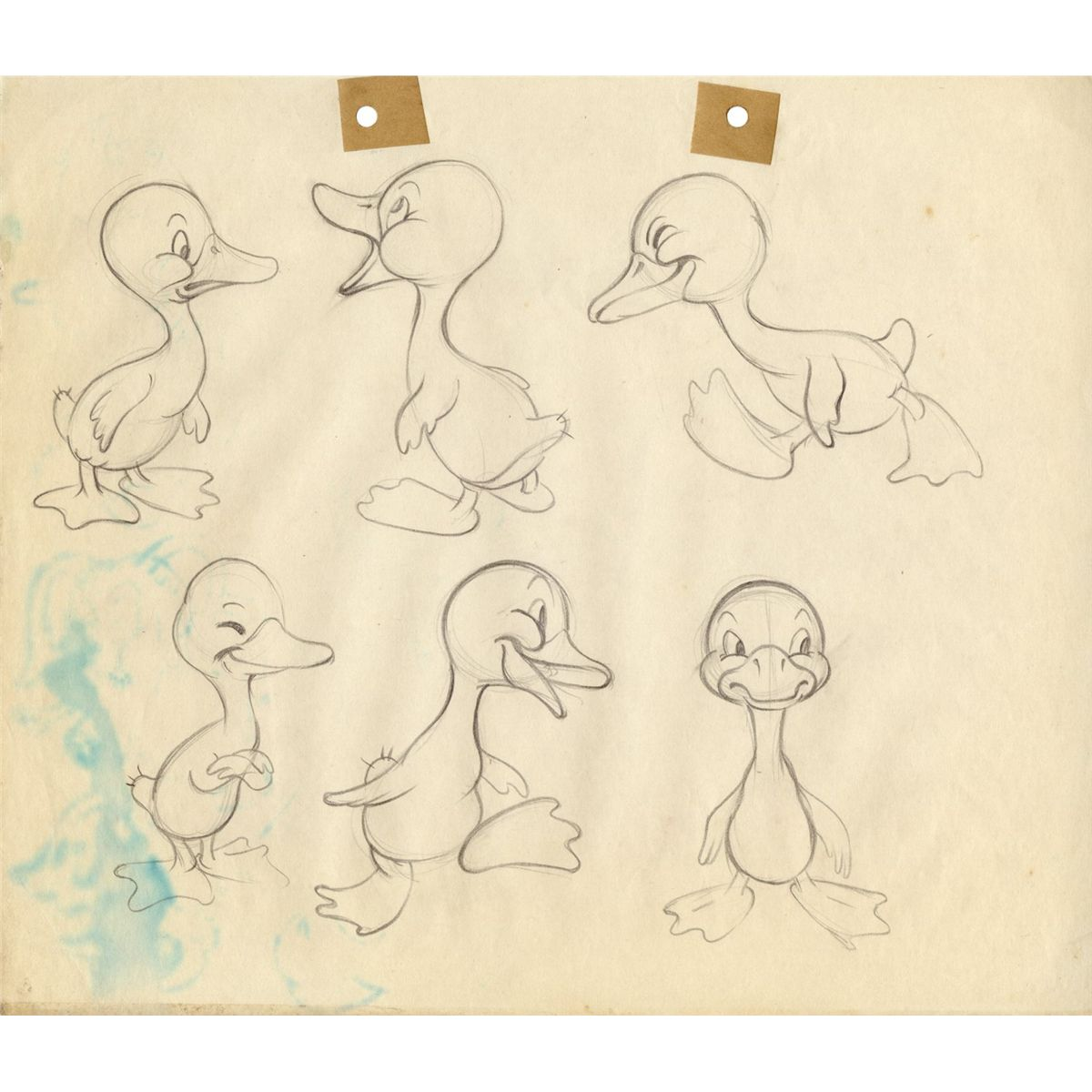 pair of original model drawings from the ugly duckling from the