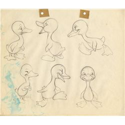 Pair of original model drawings from The Ugly Duckling from the estate of animator Hal Ambro