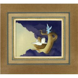 Pegasus and Baby Pegasus original production cel on Courvoisier background