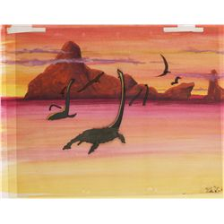 Fantasia Dinosaurs swimming and flying on a hand-prepared background
