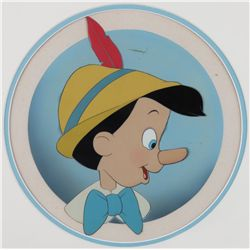 Original production cel of Pinocchio from Pinocchio on hand-painted background