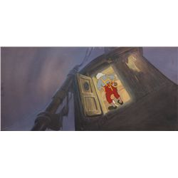 Gepetto original production cel on pan background of sunken ship from Pinocchio