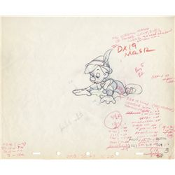 Pair of original production drawings of Figaro and Pinocchio from Pinocchio