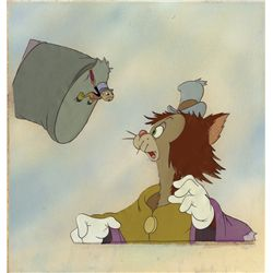 Gideon & Jiminy Cricket original production cels from Pinocchio on Courvoisier background