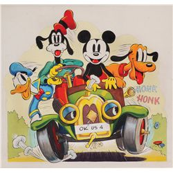 Original Mickey Mouse, Donald Duck and Goofy Walt Disney publicity artwork