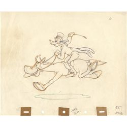 Original production drawing of Goofy from How to Ride a Horse