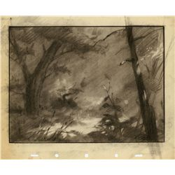Original production background layout drawing from Bambi
