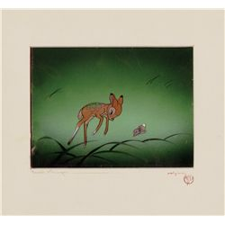 Original production cel of Bambi and Thumper on Courvoisier background from Bambi