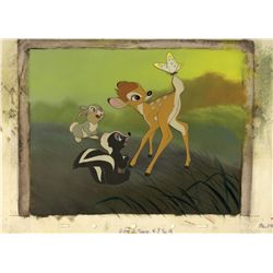 Original production background from Bambi with presentation cels, signed by animator Marc Davis