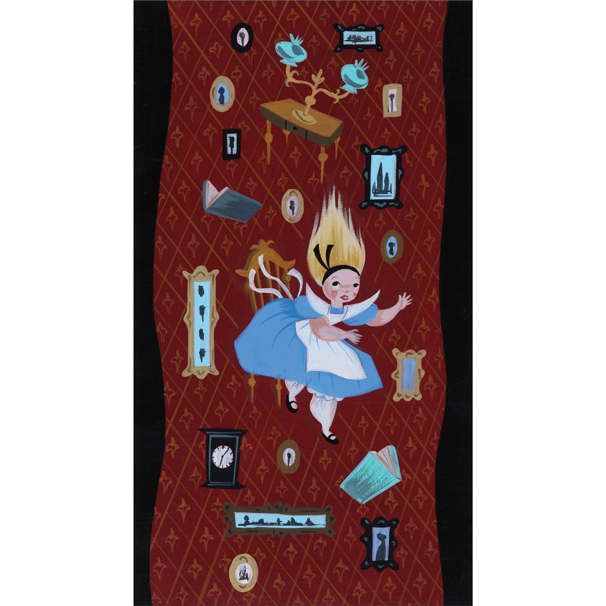 Mary Blair original concept painting of Alice falling from Alice in ...