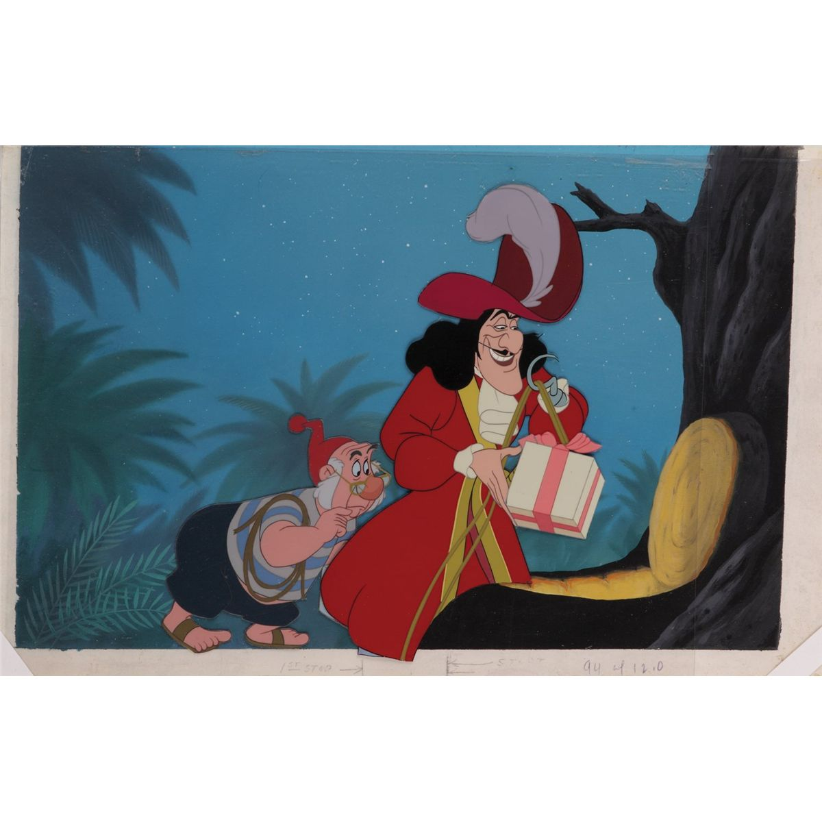 Uncategorized Hook And Smee captain hook and smee at treehouse original production cels background from peter pan