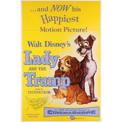 Lady and the Tramp original release 1-sheet poster, (5) color stills, and complete pressbook