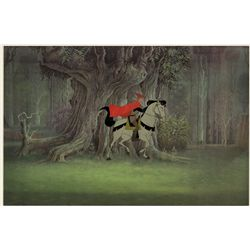 Original production cel of Prince Phillip on Sampson from Sleeping Beauty