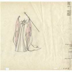 Pair of original pan production drawings of Maleficent from Sleeping Beauty