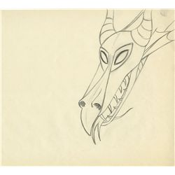 Pair of original production drawings of the Dragon from Sleeping Beauty
