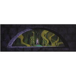 Eyvind Earle original pan concept painting of Maleficent from the walkthrough at Disneyland