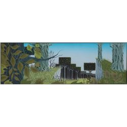 Eyvind Earle original color concept scene painting from Sleeping Beauty