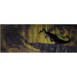 Prince & Maleficent as Dragon original production cel w/ key matching background frm Sleeping Beauty