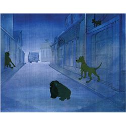 101 Dalmatians cels of Twilight Bark Dogs and of the Nanny, crawling