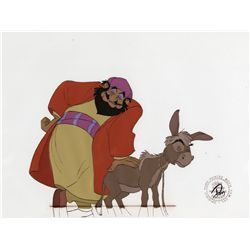 Merchant with Small One and Men singing pair of original production cels from The Small One