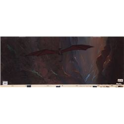 Pair of production cels with pre-production pan backgrounds from The Black Cauldron