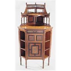 A Late 19th Century Gillow U0026 Co Mahogany Corner Cabinet, The Superstructure  With Spindle Gallery, Be