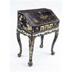 a 19th century chinese export bureau black and gilt lacquered with lake scenery and flowers the in. Black Bedroom Furniture Sets. Home Design Ideas
