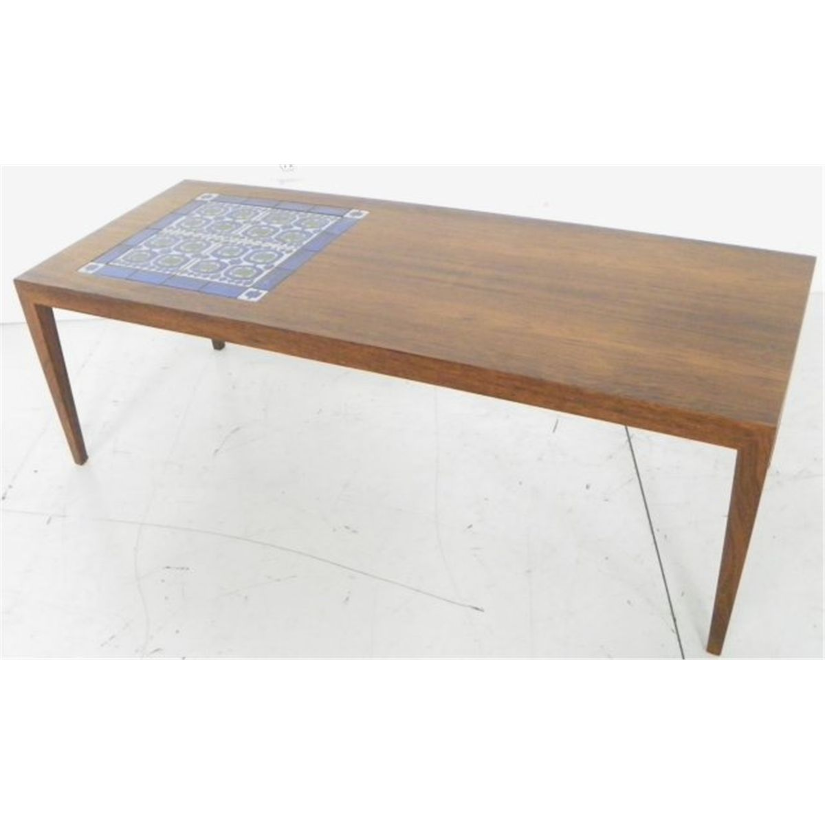 Mid 20th C Scandinavian Wood Table With Tiles