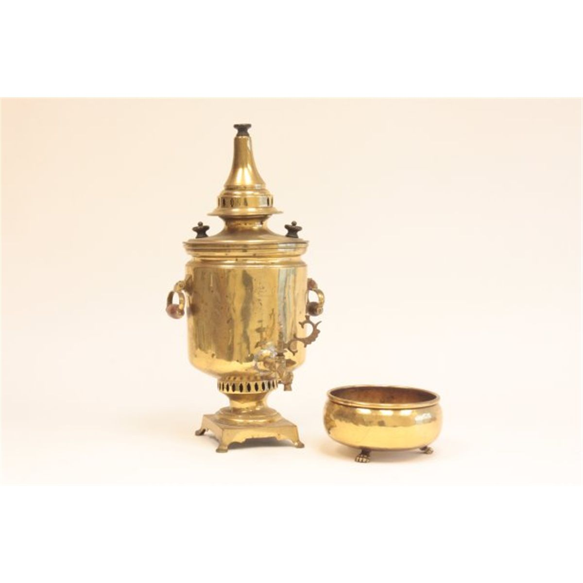 Brass Russian samovar with claw footed waste bowl