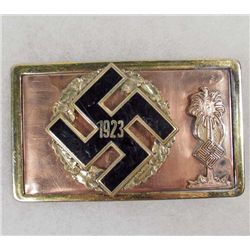 GERMAN NAZI 1923 GAU BADGE AND AFRIKA KORPS INSIGNIA BELT BUCKLE