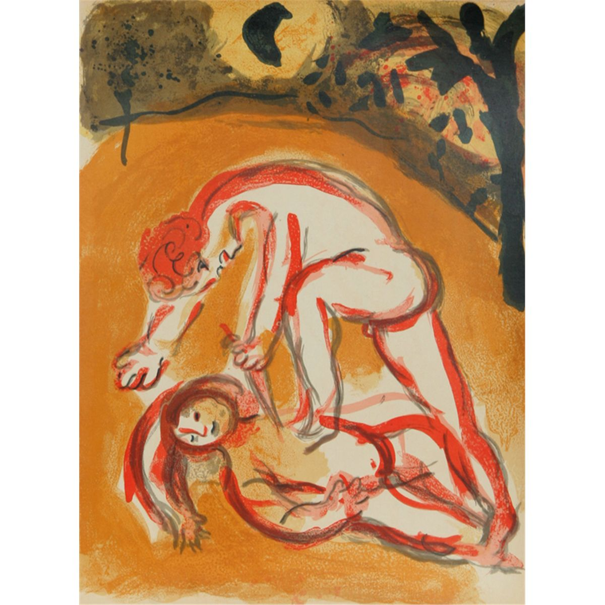 marc chagall cain and abel drawings for the bible lithograph