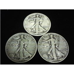 1935-D,36 &amp; 39-D WALKING LIBERTY HALF DOLLARS