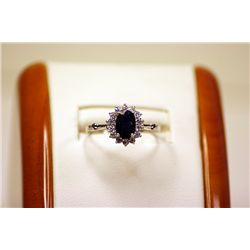 Lady's Fancy 14kt White Gold Blue Sapphire & Diamond Ring