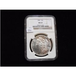 1881 $1 MORGAN NGC MS 63