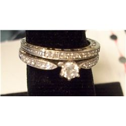 2 Band 14K Gold Wedding Ring W/1/4 Carat Center Diamond