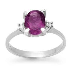 Genuine 1.53ctw Amethyst & Diamond Ring 10K Yellow Gold
