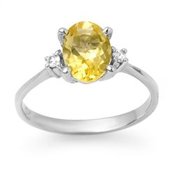 Genuine 1.58 ctw Citrine & Diamond Ring 10K White Gold