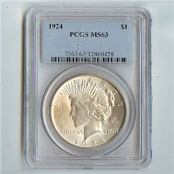 1924 Peace Silver Dollar PCGS Certified MS63