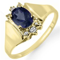 Genuine 1.28 ctw Sapphire & Diamond Ring Yellow Gold