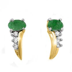 Genuine 0.6 ctw Emerald & Diamond Earrings 10k Gold
