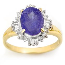 Genuine 3.03ct Tanzanite & Diamond Ring 10K Yellow Gold