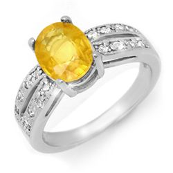 Genuine 2.82 ctw Yellow Sapphire & Diamond Ring 14K White Gold