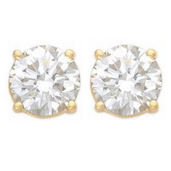 Natural 1.25 ctw Diamond Stud Earrings 14K Yellow Gold