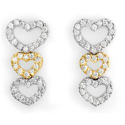 Natural 1.25 ctw Diamond Earrings 14K Multi tone Gold