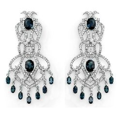Genuine 17.6 ctw Sapphire & Diamond Earrings 14K Gold