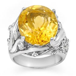 Genuine 12.54 ctw Citrine & Diamond Ring 14K Yellow Gold