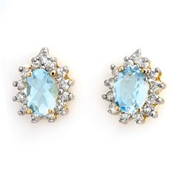 Genuine 3.75 ctw Aquamarine & Diamond Earrings 14K Gold